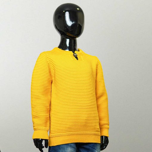 Cool Idea Horizontal Striped Yellow Color Pullover Sweater