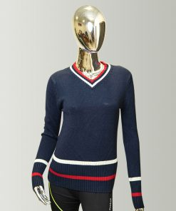 Tommy Hilfiger Blue Women's Classic Fit Long Sleeve V-Neck Sweater