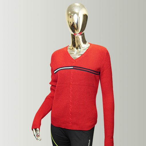 Tommy Hilfiger Red Women's Classic Fit Long Sleeve V-Neck Sweater