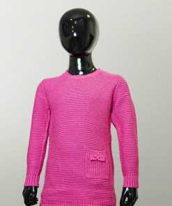 XiaoFeiHu Round Necked Pink Sweater with one Pocket at the Bottom